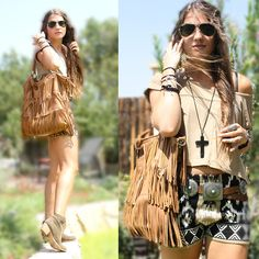 Ray Ban Wayfarers, Forever 21 Cross Necklace, Fringe Bag, Double D Concho Belt, Boots