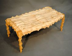 Carved and Curved Two Seat Bench by John Wesley Williams: Wood Bench available at www.artfulhome.com