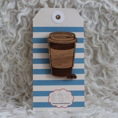 Wood laser cut brooch - takeaway coffee latte cup and coffee beans. $20.00, via Etsy. - perfect for you @Helen Yin