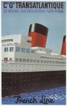 French Line Steamship Compagnie Générale Transatlantique. Le Havre-Southampton-New York (1977). Artist: Paul Colin