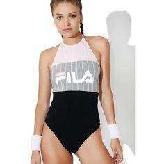 Fila Fia Logo Stripe Bodysuit (215 ILS) ❤ liked on Polyvore featuring intimates and shapewear