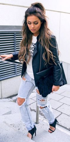 summer outfits  Black Leather Jacket + White Printed Top + Destroyed Jeans + Black Sandals