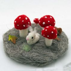 Mushroom and Bunny Needle Felted Forest Scene by WoolSculptures, $25.00