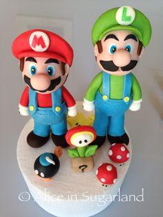 Mario and luigi, gumpaste and handmade.