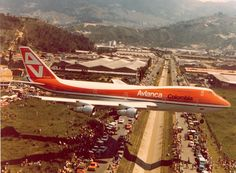 Avianca Boeing 747-124 landing at Medellin, Colombia, 5th December 1976.
