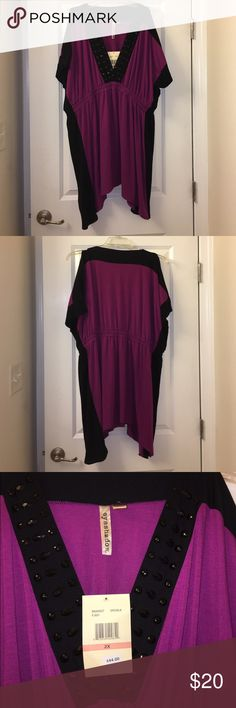 "Eyeshadow PLUS SIZE tunic Plus size V-neck tunic with cold shoulder short sleeves. Elastic empire waist. Fuchsia and black with black beads on the neckline. Handkerchief hem. Long enough for some to wear as a mini dress (approx 5'5"" or shorter). Size 2X. NEVER WORN, tags still attached but one of the beads is loose (displayed in last pic). Eyeshadow Tops Tunics"