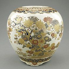 Intricately and beautifully painted with mille-fleur design, mark on the base (missing lid). Shimazu clan crest on ba. on Apr 2013 Japanese Porcelain, Japanese Ceramics, Japanese Pottery, Glass Ceramic, Ceramic Art, Satsuma Vase, Fleur Design, Japanese Textiles, Vintage Vases