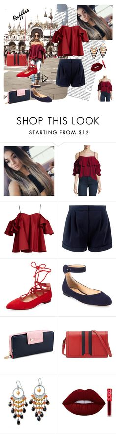 """Ruffles are always IN"" by selmazbanic ❤ liked on Polyvore featuring MISA Los Angeles, Anna October, French Sole FS/NY, Gianvito Rossi, Gucci, NOVICA and Lime Crime"