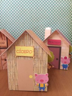 Eyfs Activities, Craft Activities For Kids, Projects For Kids, Cute Kids Crafts, Diy And Crafts, Three Little Pigs Houses, Plastic Bottle Crafts, Pig Party, Cardboard Crafts