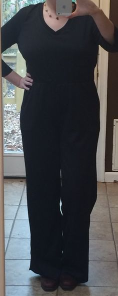Closet Case Sallie Jumpsuit (replaced pattern bodice with Grainline Lark v-neck t-shirt pattern, added zipper to back of bodice; even smallest size in original pattern hung on me and showed too much chest); Ponte de Roma Solid Black from fabric.com