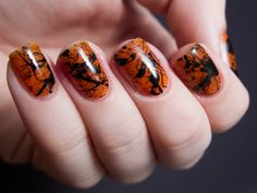 Spooky Splatter Nails (  Tutorial)