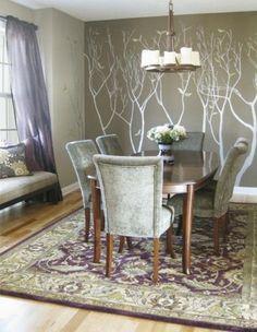 Plum & Gunmetal Silver dining room trees