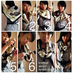 Tutorial #61 is a floaty pretzel knot I invented while faffing around with my scarf :P First, fold in half diagonally and drape triangle ove...