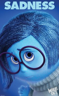 Sadness is the deuteragonist of the Pixar film, Inside Out. She is one of the five emotions inside the mind of Riley Andersen. Hence her name, she is always sad, pessimistic, and miserable. She is voiced by Phyllis Smith. Disney Inside Out, Pixar Inside Out, Inside Out Characters, Movie Characters, Kung Fury, Disney Pixar, Disney Nerd, Disney Animation, Sadness Inside Out