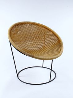 Joseph  André-Motte; Rattan and Enameled Metal 'Catherine' Chair for Rougier, 1953.