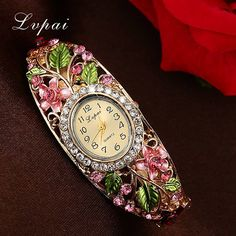 Lvpai Fashion Gold Watches Bracelet Watch Women Flower Gemstone Classic Alloy Wristwatch Women Dress Watches Quartz Watch