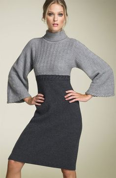 sweater dress looks like it would be a fairly easy refashion with 2 neutral colored thrifted sweaters-the bigger one for the skirt and smaller for the fitted upper body.