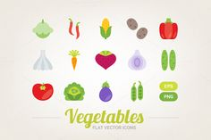 Check out Flat vegetables icons by miumiu on Creative Market