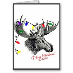 Silly #Christmas #Moose with Holiday Lights Cards - A cool card perfect for wishing your friends and family Merry Christmas. the background is a bright white with a thin black border. Centered is a hand-drawn sketch of a moose head with colorful Christmas lights tangled in his antlers.