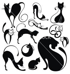 Black cat vector on VectorStock®