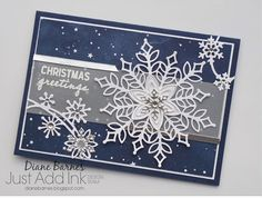 handmade snowflake Christmas Card using Stampin Up Snowflake Showcase - Snowfall dies and Snow is Glistening stamp set. Available November 2018 only. Card by Di Barnes Independent Demonstrator in Sydney Australia colourmehappy sydneystamper Christmas Cards 2018, Homemade Christmas Cards, Xmas Cards, Handmade Christmas, Homemade Cards, Holiday Cards, Christmas Crafts, Stampin Up Christmas 2018, Christmas Sketch