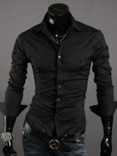 Black Pure Cotton Men's Casual Shirt $14.99