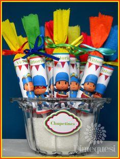 Toda la ternura y el color de Pocoyo y sus amigos en esta mesa que viajó a Córdoba..                                                      ... Girl First Birthday, Baby Birthday, Ideas Para Fiestas, First Birthdays, Projects To Try, Baby Shower, Candy, 1, Color