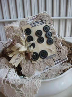 Lacy Button Card