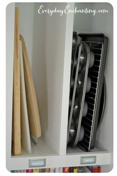Save space in the kitchen by storing cutting boards and pans in the pantry.