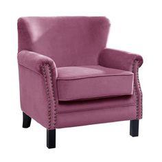 Mauve Bardot Velvet Armchair | Dunelm