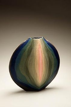 Tribute to Miyashita Zenji  (1939 - 2012)  Sosei (Genesis)  2009  Stoneware and colored clay overlays  15 x 16 x 6 inches