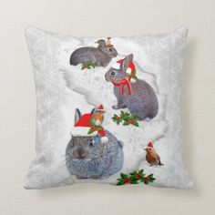 Bunnies Christmas Party Pillow - tap, personalize, buy right now! #baby, #wild, #rabbit, #rabbits, #bunny, Cheap Christmas Gifts, Christmas Home, Christmas Stockings, Holiday Cards, Christmas Cards, Holiday Decor, Accent Pillows, Throw Pillows, Holiday Festival