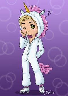 .kigurumi on ice - chris happy valentine's day and of course happy birthday to our precious chris~ X3 the date suits him perfectly just like the unicorn kigurumi, don't you think?