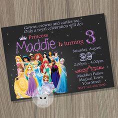 Disney Princess Invitation, Princess Birthday Invitation, Disney Princess Party, Princess Invitation, Disney Princess, Princess Birthday by CutePixels on Etsy https://www.etsy.com/au/listing/220431993/disney-princess-invitation-princess