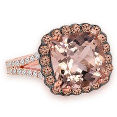 Jewelry Point - Peach Pink Morganite Champagne Brown Diamond Halo Rose Gold Rng, $1,890.00 (https://www.jewelrypoint.com/peach-pink-morganite-champagne-brown-diamond-halo-rose-gold-rng/)