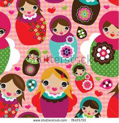 stock vector : Seamless russian doll illustration background pattern in vector