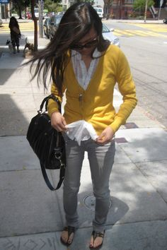 grey pants are too cute Yellow Cardigan Outfits, Grey Pants Outfit, Yellow  Sweater, a218399801c