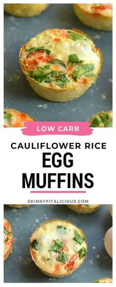 Carb Cauliflower Egg Muffins Egg Muffins made with cauliflower rice! High protein, veggie filled and low carb!Egg Muffins made with cauliflower rice! High protein, veggie filled and low carb! Veggie Egg Muffins, Low Carb Egg Muffins, Healthy Breakfast Muffins, Breakfast Recipes, Paleo Meal Plan, Meal Prep, Sugar Free Bacon, Paleo Recipes Easy, Ww Recipes