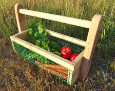 Vegetable Hod Garden Tote Harvest Basket by ConversationGlass - Modern Diy Herb Garden, Garden Oasis, Garden Fencing, Outdoor Plants, Outdoor Decor, Harvest Basket, Small Backyard Gardens, Garden Design, Herbs