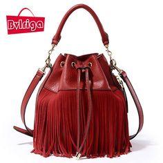 BVLRIGA 2017 seau femmes fourre-tout sac glands véritable sac en cuir femmes messenger sacs célèbre marque designer sacs à main de haute qualité