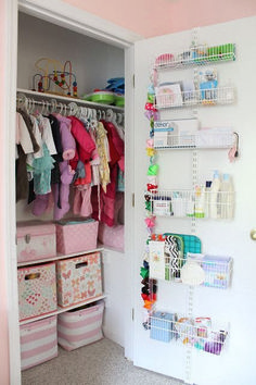 super ideas for baby nursery organization ideas reading nooks Baby Nursery Closet, Baby Bedroom, Girl Nursery, Girls Bedroom, Nursery Ideas, Baby Closets, Bedroom Small, Nursery Themes, Baby Girl Bedroom Ideas