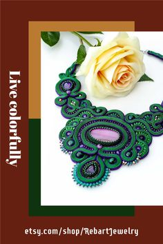 Large beaded bib necklace, green soutache purple agate necklace, unique oversized gemstone necklace, statement embroidery necklace. Necklace made with a soutache embroidery technique. Purple agate, chrysocolla, zirconia chain gold/purple, and fire polish surrounded on green and purple braid cord. Soutache Necklace, Seed Bead Necklace, Seed Bead Jewelry, Gemstone Necklace, Bead Embroidery Jewelry, Beaded Embroidery, Purple Braids, Purple Agate, Purple Necklace