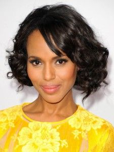 Side-swept bangs and natural curls bring softness to Kerry Washington's bob. Create a side part and blow dry just your bangs straight. Use a curling iron to blend some defined ringlets within your natural curls.                                     via @AOL_Lifestyle Read more: http://m.aol.com/article/2015/09/28/35-bobs-haircuts-that-look-amazing-on-everyone/20630851/?a_dgi=aolshare_pinterest#slide=12388|fullscreen