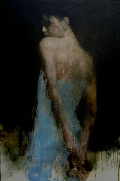 Mark Demsteader - woman - blue dress - shoulders - arms - hands clasped - painting - thinking Another pose I wish to recreate with you. I want to shoot you at the same angle. If you have a backless /strapless dress to bring along, it'd be great. Otherwise we'll shoot you in your bikini in this pose.