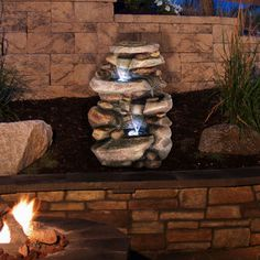 Pure Garden Stone 3-level LED Light Waterfall Fountain | Overstock.com Shopping - Great Deals on Outdoor Fountains