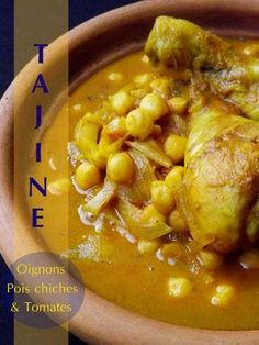 Chicken tajine with caramelized onions and chickpeas - chicken Authentic Mexican Recipes, Mexican Food Recipes, Ethnic Recipes, Moroccan Recipes, Healthy Drinks, Healthy Cooking, Healthy Eating, Cooking Recipes, Batch Cooking