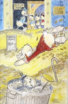 """Preliminary sketch for """"Go Slowly, Sands of Time"""" by Carl Barks"""