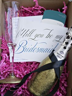 Will You Be My Bridesmaid Box-Love The Gold Glitter Champagne Bottles! Bridesmaid Boxes, Bridesmaids And Groomsmen, Bridesmaid Proposal, Wedding Bridesmaids, Bridesmaid Gifts, Beach Wedding Favors, Floral Wedding Invitations, Wedding Gifts, Wedding Ideas