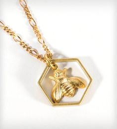 Brass Honeybee Necklace by J. Topolski on Scoutmob Shoppe and as always...because Melissa means Honeybee