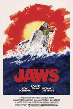 Jaws by Robert Tanenbaum - Home of the Alternative Movie Poster -AMP- Jaws Movie Poster, Best Movie Posters, Horror Movie Posters, Horror Movies, Horror Art, Indiana Jones, Screen Print Poster, Poster Prints, Steven Spielberg Movies